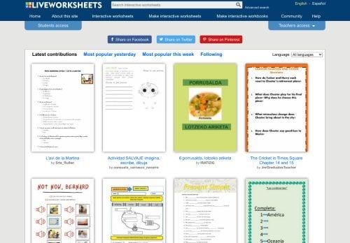 אתר דפי עבודה אינטראקטיביים להוראה מרחוק